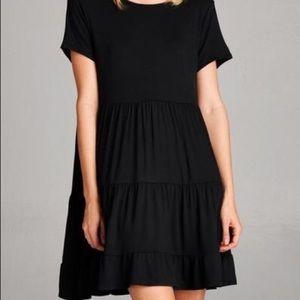 Black empire waist tiered cotton dress